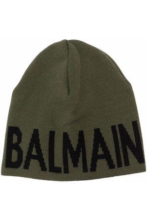 Balmain Kids Intarsien-Mütze aus Schurwolle