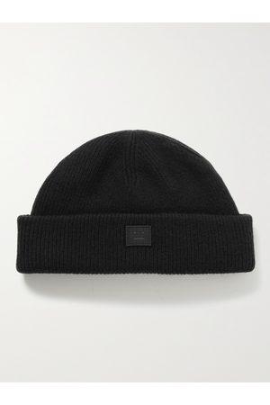 Acne Studios Herren Hüte - Logo-Appliquéd Ribbed Wool Beanie