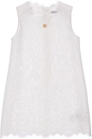 Dolce & Gabbana Ärmelloses Kleid Aus Baumwollmischspitze