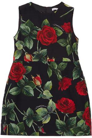 Dolce & Gabbana Mädchen Ärmellose Kleider - Ärmelloses Kleid Aus Viskose Mit Rosendruck