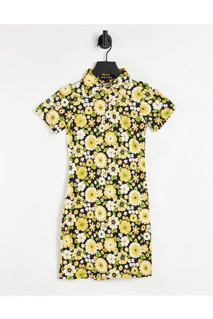 Motel – Kurzärmliges Bodycon-Kleid im Stil der 70er mit Retro-Blumenmuster-Mehrfarbig