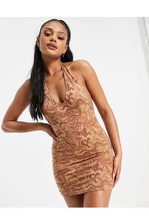 Motel Damen Kleider - – Bodycon-Kleid mit Neckholder und Marmorprint