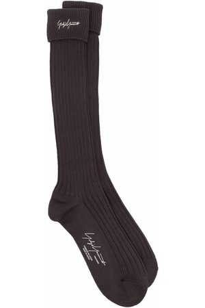 Yohji Yamamoto Gerippte Socken mit Logo-Stickerei