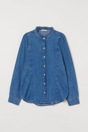 H&M Jeansbluse mit Volantkragen