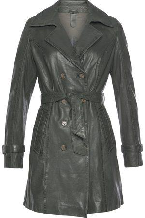 Gipsy Damen Trenchcoats - Ledermantel »Taresa«, (2 tlg., mit Bindegürtel), femininer Leder-Trenchcoat mit Bindegürtel