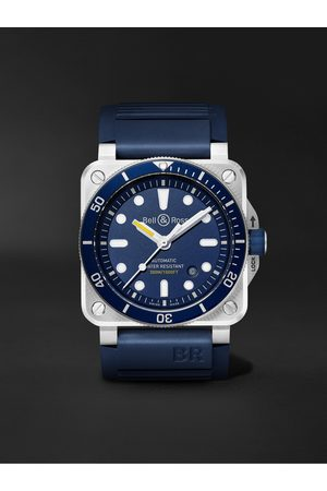 Bell & Ross Herren Uhren - BR 03-92 Diver Automatic 42mm Stainless Steel and Rubber Watch, Ref. No. BR0392-D-BU-ST/SRB