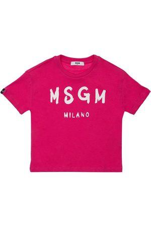 Msgm Mädchen Shirts - T-shirt Aus Baumwolljersey Mit Logodruck