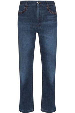 Chloé Damen Cropped - Cropped-Jeans mit hohem Bund