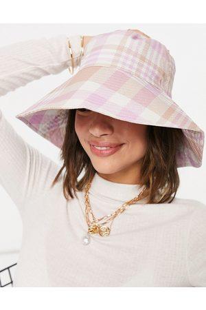 ASOS DESIGN – Anglerhut in Rosa und Camel kariert-Mehrfarbig