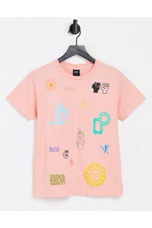 "Obey – Lässig geschnittenes T-Shirt mit ""Love and Peace""-Prints"