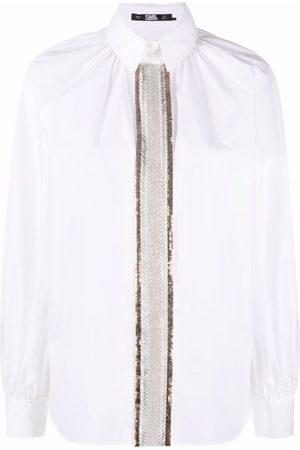 Karl Lagerfeld Damen Blusen - Hemd mit Perlenstickerei
