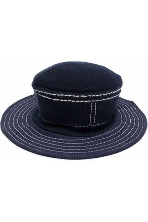 Barrie Stitch-detail wide-brim hat