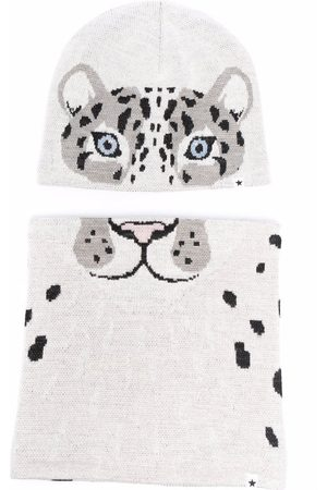 Molo Kids Intarsia-knit tiger hat set