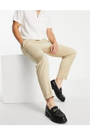 Topman Topshop – Elegante, schmal zulaufende Hose in Ecru mit Umschlag