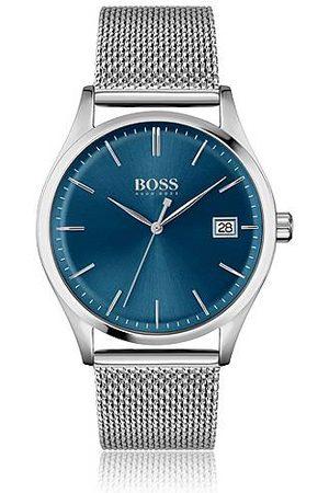HUGO BOSS Uhr mit Mesh-Armband und blauem Zifferblatt