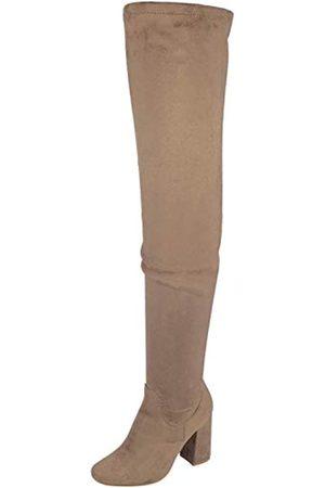 Nature Breeze Elantra 01 Damen Stiefel aus Wildleder, mit hohem Absatz, Schwarz (schwarze Velourslederoptik)