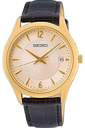Seiko Herren Analog Quarz Uhr mit Leder Armband SUR472P1
