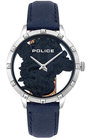 Police Unisex Erwachsene Analog Quarz Uhr mit Leder Armband PL16041MS.03
