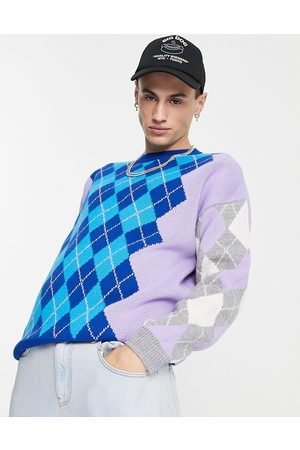 ASOS – Strickpullover mit Argyle-Muster in Lila