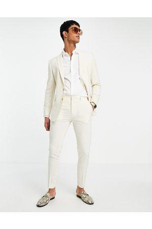 ASOS Wedding – Anzughose mit sehr engem Schnitt und Kreuzschraffur in Stein-Neutral