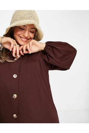 ASOS – Langärmliges Mini-Hängerkleid mit Knopfleiste in Schokoladenbraun