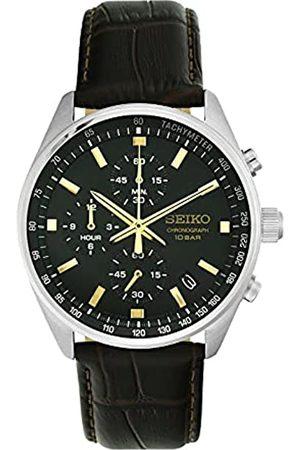 Seiko Herren Analog Japanischer Quarz Uhr mit Echtes Leder Armband SSB385P1