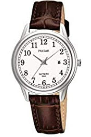 Pulsar Quarz Damen-Uhr Edelstahl mit Lederband PH7187X1