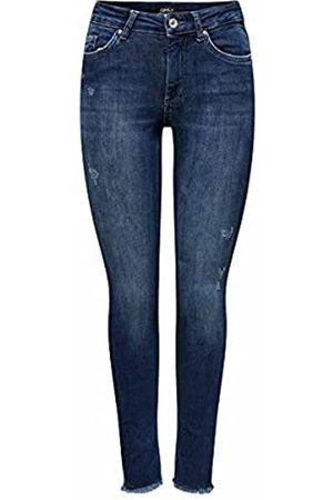 ONLY Female Skinny Fit Jeans ONLBlush Life Mid Ankle Raw L32Dark Blue Denim