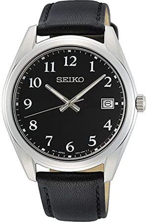 Seiko Herren Analog Quarz Uhr mit Leder Armband SUR461P1