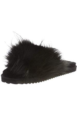 flip*flop Damen Hairy Pool Hausschuhe, Black