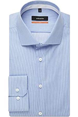 Seidensticker Herren Business Hemd – Gestreiftes, edles Hemd mit einem Kent-Kragen und hohem Tragekomfort – Passform Slim Fit – Langarm – 100% Baumwolle, (Hellblau