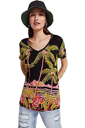 Desigual Damen Ts_Black Palms T-Shirt