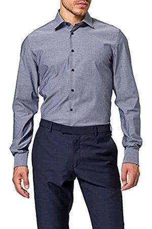 Seidensticker Herren Business Hemd – Einfarbiges Hemd mit schickem Kent-Kragen und einem hohem Tragekomfort – Passform Slim Fit – Extra langer Arm – 100% Baumwolle, (Mittelbla