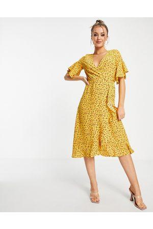 Ax Paris Damen Freizeitkleider - – Geblümtes Midi-Wickelkleid mit Rüschen-Mehrfarbig