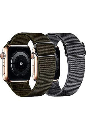 HDAOO 2 Stück dehnbare Nylon-Schlaufenbänder, kompatibel mit Apple Watch-Armbändern 38 mm 40 mm 42 mm 44 mm