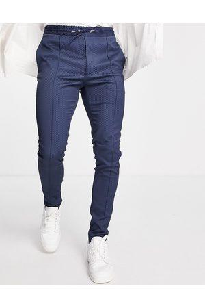 ASOS – Elegante, strukturierte Hose in Marineblau mit engem Schnitt und Kordelzug in der Taille
