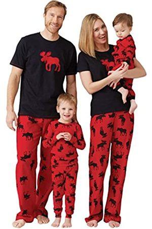 Hatley Damen Pj Set Ovl-Moose On Red Zweiteiliger Schlafanzug