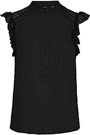 VERO MODA Damen VMMAPLE SL LACE Frill TOP WVN GA Bluse, Black
