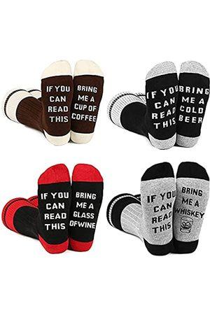 BISOUSOX Herren Socken & Strümpfe - Lustige Socken IF YOU CAN READ THIS Bunte Socken Modische Herrensocken Strümpfe für Herren Damen Geschenk für Frauen Freundin (39-46)