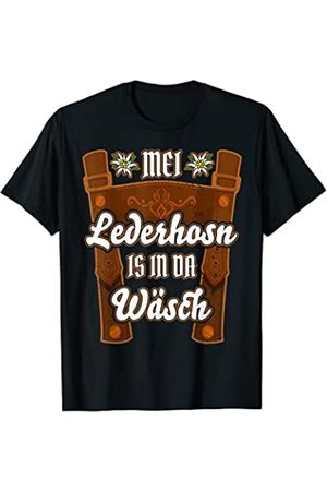 Mei Lederhosn Oktoberfest Kostüm Geschenke Herren Mei Lederhosn is in da Wäsch Ersatz Lederhose Tracht lustig T-Shirt