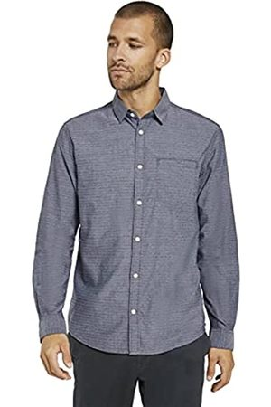 TOM TAILOR Herren Structure Regular Fit Hemd, 24493-navy Chambray with w