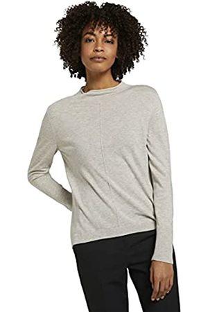 TOM TAILOR Damen Stehkragen Pullover, 25676-Soft Silver Grey Melange