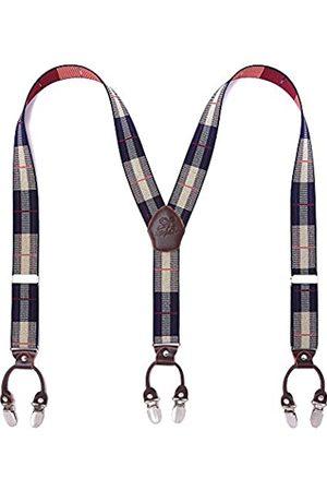 KANGDAI Herren-Hosenträger mit Y-Rücken, 6 Clips, breit, einfarbig