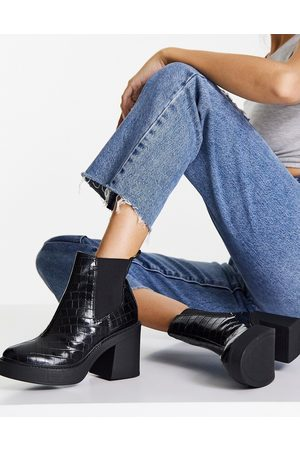 London Rebel – Ankle-Boots in Kroko- mit Plateausohle