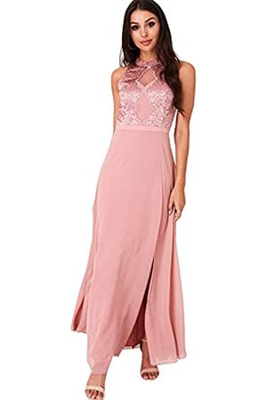 Little Mistress Damen Ginnie Embroidery Maxi Dress Kleid, (Apricot)