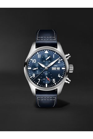 IWC SCHAFFHAUSEN Herren Uhren - Pilot's Watch Automatic Chronograph 41mm Stainless Steel and Leather Watch, Ref. No. IW388101