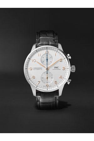 IWC SCHAFFHAUSEN Herren Uhren - Portugieser Automatic Chronograph 41mm Stainless Steel and Alligator Watch, Ref. No. IW371604