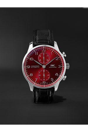 IWC SCHAFFHAUSEN Herren Uhren - Portugieser Automatic Chronograph 41mm Stainless Steel and Alligator Watch, Ref. No. IW371616