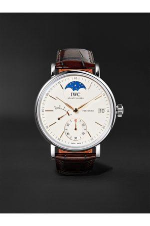 IWC SCHAFFHAUSEN Portofino Hand-Wound Moon Phase 45mm Stainless Steel and Alligator Watch, Ref. No. IW516401