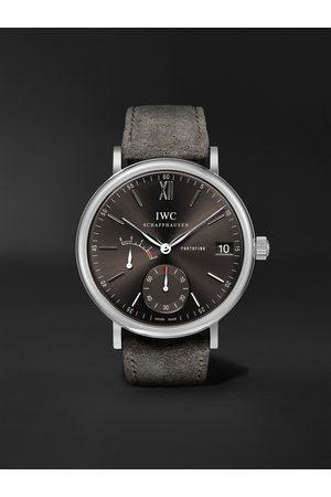 IWC SCHAFFHAUSEN Portofino Hand-Wound Eight Days 45mm Stainless Steel and Suede Watch, Ref. No. IWIW510115